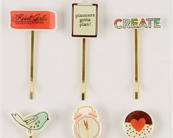 Simple Stories - Carpe Diem - The Reset Girl Planner Collection - Decorative Clips - 6 pieces - 4989