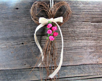 Pink Rose Wreath- CUSTOM COLOR, Spring Summer Wreath, Front Door Wreath, Natural Twig Grapevine BOW Wreath, Rustic Cottage Chic Wreath Decor