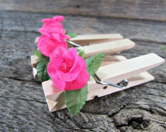 Rose Clothes-Pins / Place-Card Holders / Photo Holders, CUSTOM COLOR, Wood Wooden Clothes-Pins, Spring Summer Wedding Party Favors Decor