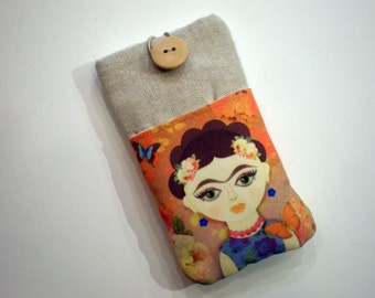 iPhone 6 sleeve, Frida Kahlo, Galaxy A7 case, Cell phone case, HTC 10 case, Huawei  P9 sleeve, Nexus 5 case, One Plus case, Xperia C5 case