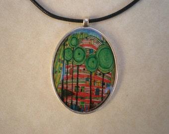 Hundertwasser pendant - resin pendant - Art pendant - Art jewelry - Resin pendant - Hundertwasser art