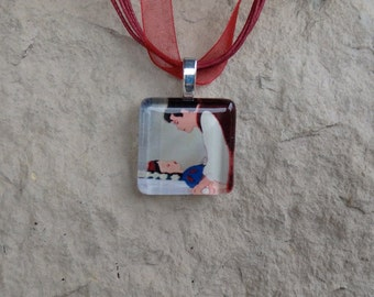 Disney Kiss Collection Snow White and Her Prince Glass Pendant and Ribbon Necklace