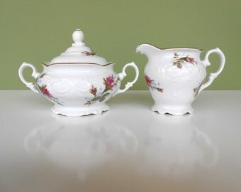 "Vintage ""Moss Rose"" Sugar Bowl & Creamer by Walbrzych Poland"