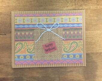 Burlap present birthday card