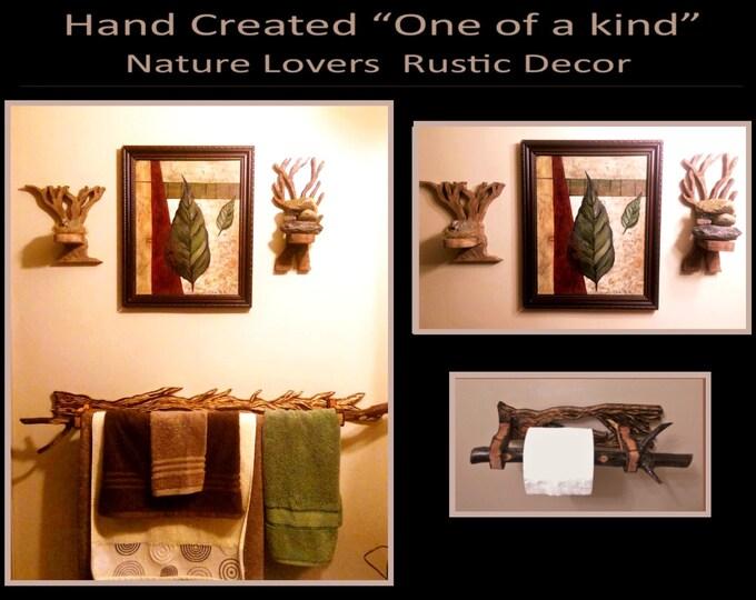 Rustic Decor,Cabin decor,lodge decor,Tree decor,Tree art,Nature lovers,Napkin holder,Toilet paper holder,Towel holder,trees,rustic bathroom