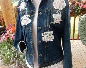 Sweet Tea Embellished Denim Jacket