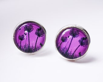 flower cabochon earring studs