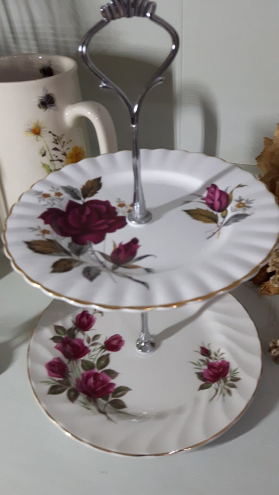 Hand made vintage china cake stand, trinket stand, gorgeous tonal pink rose design