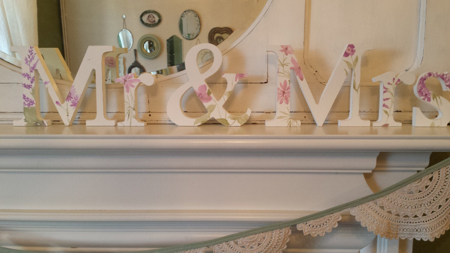 Beautiful summer garden floral vintage chic Mr and Mrs free standing wooden wedding decoupaged letters. 15 cm high