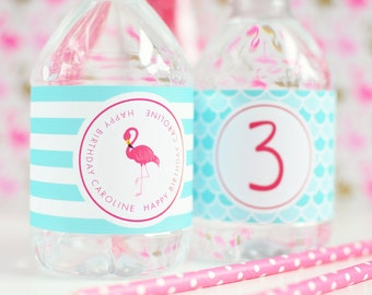 Flamingo Party Drink Labels - Flamingo Water Bottle Labels - Flamingle Party Bottle Labels