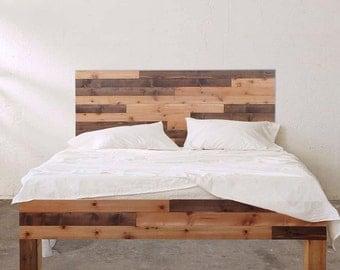 Original Knot and Grain - Barnwood Style Bed frame & Headboard Set - Handmade In Chicago USA
