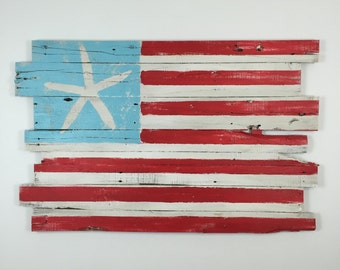 "Beachy American Flag Wall Hanging Reclaimed Wood 48"" x 30"""