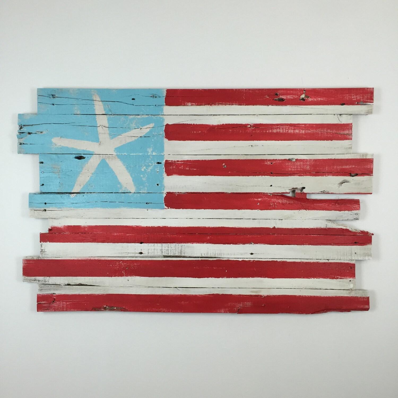 🔎zoom - Beachy American Flag Wall Hanging Reclaimed Wood 48 X