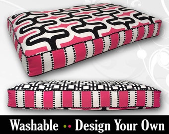 Pink Black Dog Bed with Insert - Custom Made to your Style