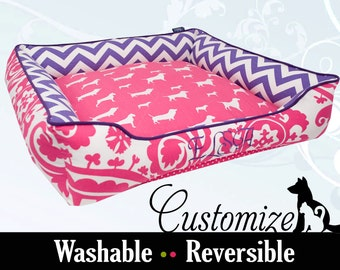 Girly Dog Bed or Cat Bed | Pink, Purple, Chevron | Washable, Reversible and High Quality | You Design it, We Create it!