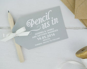 Pencil us in save the date cards in grey x25
