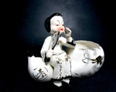 Mid Century Asian Planter, Young Asian Girl with Fan, Black White Gold Mid Century Planter, Asian Decor