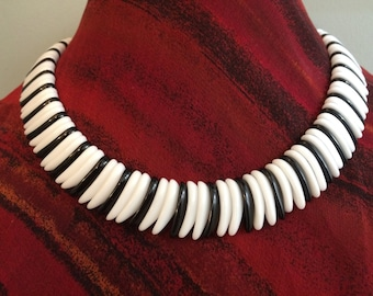 OOAK Unique Upcycled Choker of Vintage Glass Beads, Black & White