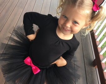 Black Cat Costume tutu with hair clip ears, Black Tutu Costume, Black Kitty Costume, Tutu Halloween Costume, shirt not included