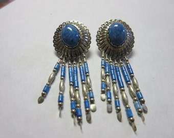 Indian Blue Stone Sterling Silver Earrings