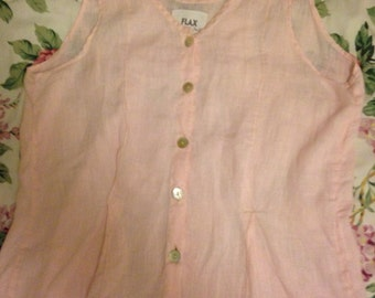 FLAX Pale Pink Linen Sleeveless Shirt