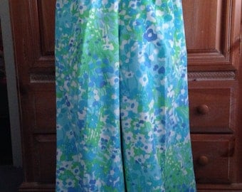 Vintage Sea Waves Blue and White Floral Pants