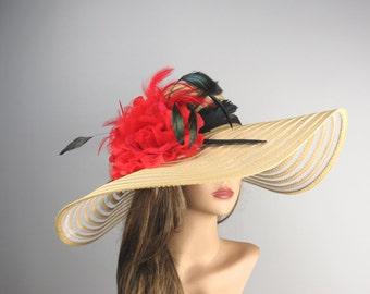 Light Beige Wedding Hat Red Flower Head Piece Kentucky Derby Hat Beige Bridal Coctail Hat Couture Fascinator  Bridal Hat