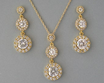 Cubic Zirconia, Gold Plated Over Brass,Necklace & Earrings, Bridal Set,Yellow Gold Plated Necklace, Round Set, Daisy, Bridesmaid Gift- DK757