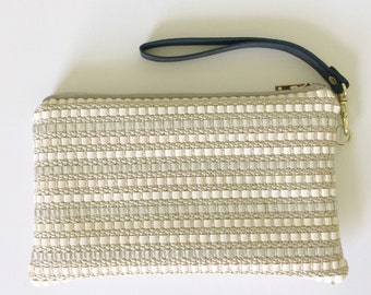 White and Silver Woven Leather Wristlet