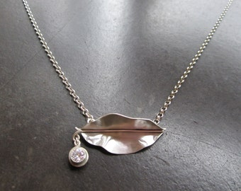 Leaf and CZ Necklace  (Sold)