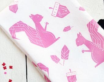 Hot Pink Squirrel Tea Towel