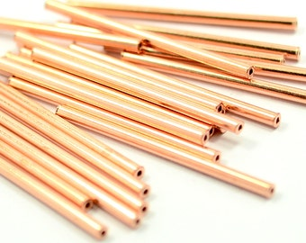 25 Pcs. Raw Copper 2x35 mm Tube Spacers -İnside Daiameter 1.1 mm