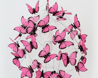 Ceiling lamp with pink Butterflies-Handmade Wire Lamp Shade Butterfly Lamp Fairy Lamp Art Lamp Pendant Lighting Fixture Ceiling Lamp