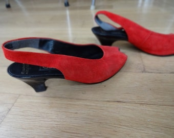80s Red Suede Sling Back Heels, Size 7.5