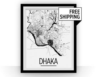 Dhaka Map Poster - bangladesh Map Print - Art Deco Series