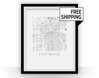 Fort Wayne Map Print