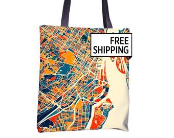 Montreal Map Tote Bag - Mtl Map Tote Bag 15x15