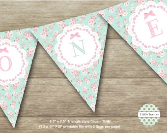 ONE/first birthday Bunting Flags/1st birthday banner/Pennant Flags/Banner Flags/Instant Download/Printable/Shabby Chic Flags-Cassandra