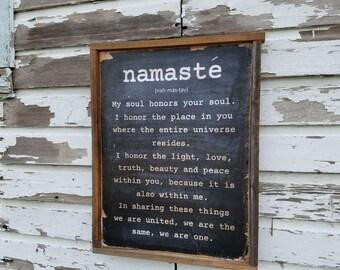 Namaste! Wood Sign