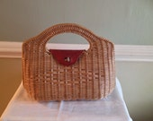 50s Leather & Straw / Wicker Top Handle Brass Fastenings Floral Lined Purse