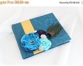 ON SALE READY To Ship Wedding Lace Guest Book Custom Made in Teal, Gold and Purple and Turquoise with Handmade Flowers, Brooches and Peacock