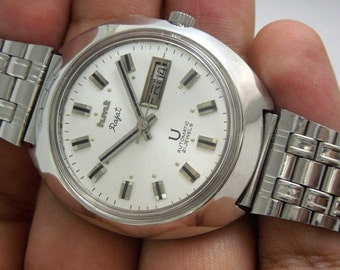 automatic Watch Vintage HMT Rajat clean condition silvery Dial day date 21 Jewels mens  watch