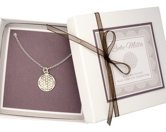 Necklace flower of life 925 sterling silver BRIDESMAID GIFT