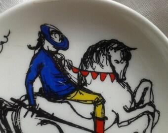 Horse and Rider Vintage China Dish