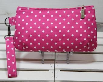 Wristlet Clutch Wallet, Vegan Wristlet Clutch, Vegan Purse Clutch, Vegan Clutch Wristlet, Pink Polka Dot Clutch
