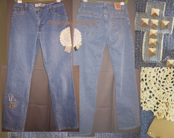 Upcycled Chic Studded Patched Jeans Women's size 12 Long Cross