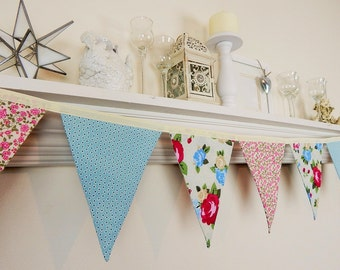 Floral Fabric Decor, Wedding Pennant Banner, Tea Party Bunting, Girl's Nursery Decoration, Shabby Garland, Rose Pink and Blue Floral, F-120