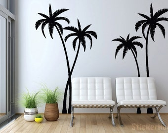 palm tree wall decal etsy. Black Bedroom Furniture Sets. Home Design Ideas
