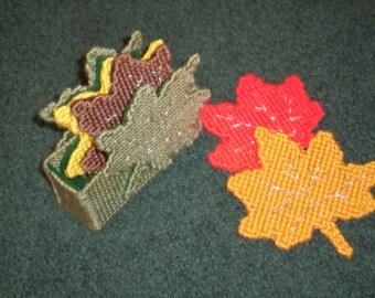 Plastic Canvas Fall Coaster Set - Beautiful Leaves Coasters - Coasters For Fall - Thanksgiving Coaster Gift Set - Plastic Canvas Coaster Set