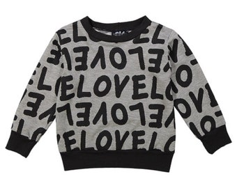 Gray 'Love' Sweater - Infant, Toddler & Kids